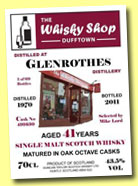 Glenrothes 41 yo 1970/2011 (43.5%, Duncan Taylor for Whisky Shop Dufftown, Octave, cask #491630, 69 bottles)