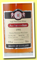 Auchentoshan 1991/2009 (59.3%, Malts of Scotland, cask #492, Chateau Montrose Finish, 301 bottles)