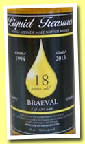 Braeval 18 yo 1994/2013 (52.5%, Liquid Treasures, bourbon hogshead, 120 bottles)