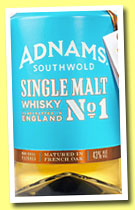 Adnams 'Single Malt No 1' (43%, OB, England, 2013)