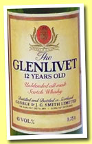 Glenlivet 12 yo (43%, OB, unblended all malt, 75cl, +/-1980)