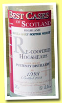 Old Pulteney 10 yo 1998/2008 (43%, Jean Boyer, Best Casks of Scotland, recoopered hogshead)
