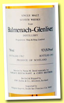 Balmenach-Glenlivet 1962/1983 (92 US proof, Duthie for Narsai's and Corti Brothers, USA)