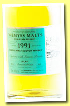 Bunnahabhain 1991/2014 'Oysters with Lemon Pearls' (46%, Wemyss malts, hogshead, 265 bottles)