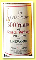 Linkwood 11 yo 1984 (60.5%, James MacArthur, 500 years of Scotch Whisky, +/-1995)
