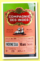 Indonesia 10 yo 2004/2015 (43%, Compagnie des Indes, cask #581, 259 bottles)