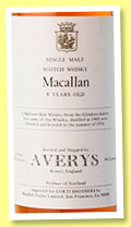 Macallan 8 yo 1969/1978 (86.8 US proof, Avery's for Marshall Taylor for Corti Brothers, San Francisco)