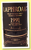 Laphroaig 23 yo 1991/2014 (52.6%, OB, first fill sherry and refill hogsheads, 5,000 bottles)