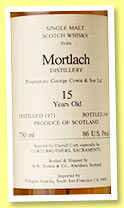 Mortlach 15 yo 1971/1986 (86 U.S proof, Duthie for Corti Brothers, Sacramento)