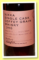 Nikka 'Coffey Grain' 1995/2009 (60%, OB, warehouse #11, cask #189476)