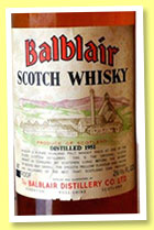 Balblair 24 yo 1951 (80° proof, OB, private bottling, 26 2/3 fl ozs, +/-1975)