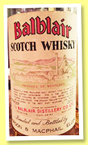 Balblair (70° proof, Gordon & MacPhail, licensed bottling, 26 2/3 fl ozs, +/-1970)
