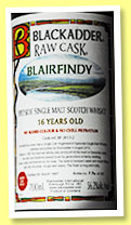 Blairfindy 16 yo 1997/2013 (56.2%, Blackadder, Raw Cask, hogshead, sherry cask finish, cask ref #BF 2013-2, 287 bottles)