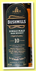 Bushmills 10 yo (40%, OB, Irish single malt, bourbon and oloroso, +/-2013)