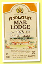 Findlater's Mar Lodge 1978 (43%, OB, single malt, French market, +/-1990)