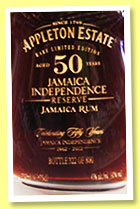 Appleton Estate 50 yo 1962/2012 'Jamaican Independence Reserve' (45%, OB, Jamaica, 800 decanters)