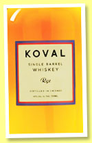 Koval 'Single Barrel Rye' (40%, OB, USA, +/-2016)