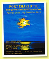 Port Charlotte 15 yo 2001/2016 (50%, OB, private cask, Martine Nouet, bourbon barrel, 223 bottles)