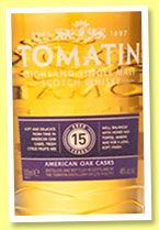 Tomatin 15 yo 'American Oak Cask' (46%, OB, travel retail)