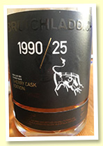 Bruichladdich 25 yo 1990/2016 'Sherry Cask Edition' (48.1%, OB for Travel Retail. 6000 bottles)