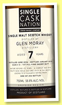 Glen Moray 7 yo 2006/2014 (58.8%, Single Cask Nation, 1st fill fino sherry, cask #3, 252 bottles)