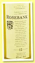Rosebank 12 yo (43%, OB, Flora and Fauna, +/-1995)