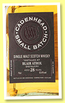Blair Athol 28 yo 1988/2017 (53.6%, Cadenhead, Small Batch, two bourbon hogsheads, 306 bottles)