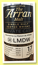 Arran 17 yo 2000/2017 (54.6%, OB for La Maison du Whisky, sherry hogshead, cask #2000/136, 143 bottles)