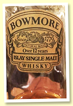 Bowmore 'over' 12 yo (No strength stated, OB for Japan, 1980s, half bottle)