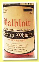 Balblair 10 yo (100°proof, Gordon & MacPhail, licensed bottling, 75cl, +/-1970)