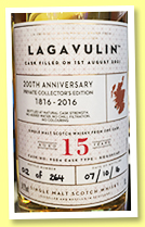 Lagavulin 15 yo 2001 2016 (54.2%, OB, 200th Anniversary Casks of Distinction, Private Collector's Edition, cask #9554, 264 bottles)
