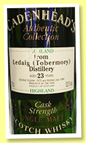 Ledaig (Tobermory) 23 yo 1972/1996 (53.5%, Cadenhead, Authentic Collection)