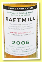 Daftmill 2006/2018 'Summer Batch Release' (46%, OB, 1665 bottles)