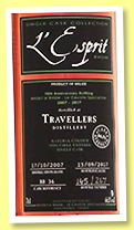 Travellers 2007/2017 (66.1%, L'Esprit, Belize, cask #BB36, 267 bottles)