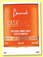 Benromach 1998/2018 'Cask No.1' (60.1%, OB, sherry butt, 575 decanters)