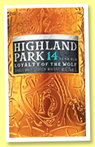 Highland Park 14 yo 'Loyalty of the Wolf' (42.3%, OB, travel retail, 1l, 2018)