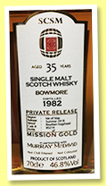 Bowmore 35 yo 1982/2018 (46.8%, Murray McDavid, Mission Gold, for SCSM China, bourbon hogshead, cask #85214, 182 bottles)