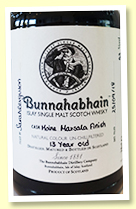 Bunnahabhain Moine 13 yo 'Marsala Finish' (63%, OB 'Hand Filled', bottled 2018)