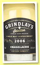 Craigellachie 9 yo 2006 (64.1%, Grindlay's Selection, 292 bottles, +/-2016)