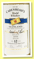 Girvan 12 yo 2006/2018 (60.3%, Cadenhead, World Whiskies, bourbon barrel, 216 bottles)