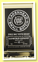 Glenburgie-Glenlivet 13 yo 2004/2017 (54.7%, Cadenhead, Small Batch, two bourbon hogsheads, 576 bottles)
