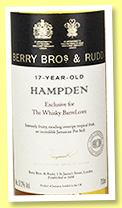 Hampden 17 yo 2000/2018 (57.2%, Berry Bros & Rudd for The Whisky Barrel, Jamaica, cask #27, 194 bottles)