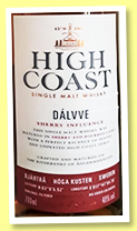 High Coast 'Dàlvve Sherry Influence' (48%, OB, Sweden, 2018)