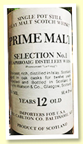 Laphroaig 12 yo (91.4 US proof, Prime Malt, Carlton Import USA, 1980s)