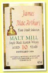 Malt Mill 10 yo 1959/1969-1995 (46%, James MacArthur, Fine Malt Selection, 5cl)