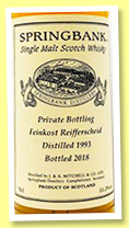 Springbank 25 yo 1993/2018 (55.2%, OB private for Feinkost Reifferscheid, refill bourbon hogshead, cask #596, 120 bottles)