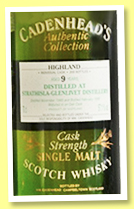 Strathisla-Glenlivet 9 yo 1989/1999 (57.1%, Cadenhead, Authentic Collection, 300 bottles)