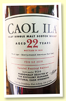 Caol Ila 22 yo (58.4%, OB Feis Ile 2019, sherry-treated American oak casks, 3000 bottles)