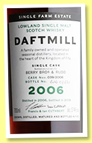 Daftmill 2006/2019 (57.4%, OB, Berry Bros. retail exclusive, First fill ex-sherry cask, cask #39, 606 bottles)