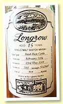 Longrow 15yo 2004/2019 (52.4%, OB for Campbeltown Malts Festival, fresh rum casks, 911 bottles)